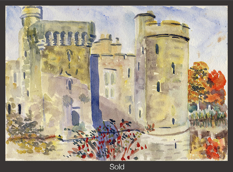 Bodiam Castle, 1948, Watercolor on Paper, Matted and Framed, 6 7/8 in x 9 7/8 in
