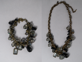 Black and iridescent grey bead bracelet and necklace set