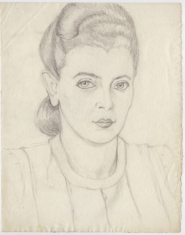 Bust Portrait of a Woman, Undated, Graphite on Laid Paper, 12 1/4 in x 9 5/8 in