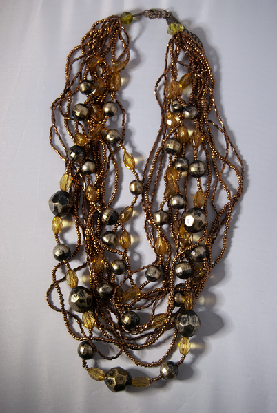 Citrine, chrome, and copper multi-strand beaded necklace