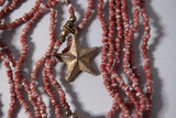 Coral and starfish multi-strand charm necklace
