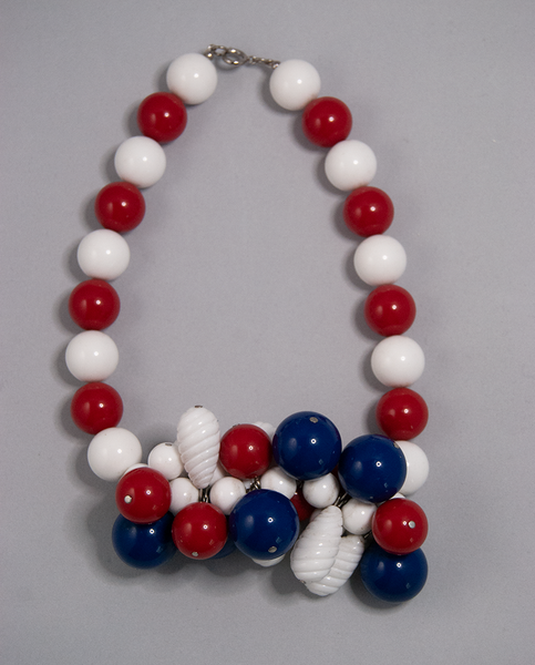 Red, white, and blue beaded cluster necklace