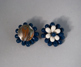 Blue and white bead flower clip-on earrings