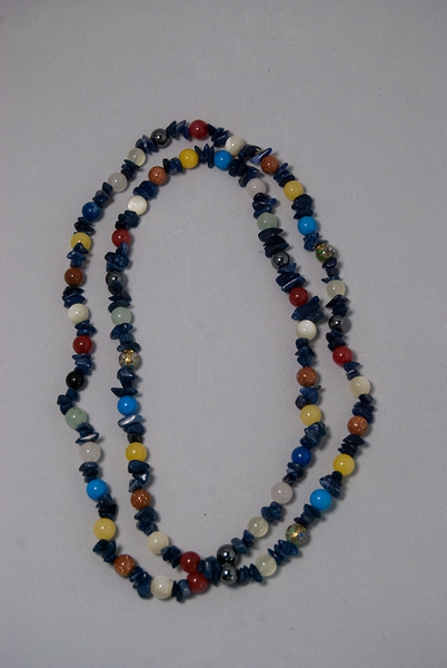 Long glass bead and semi-precious stone necklace