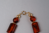 Faux amber stone bead necklace