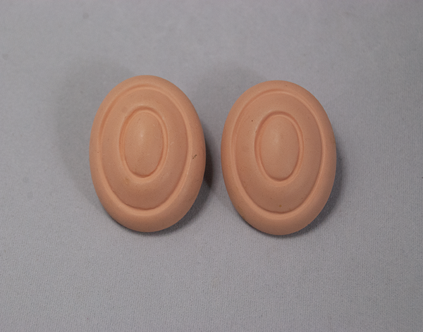 Faux terracotta plastic clip-on earrings