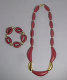 Red and gold necklace and bracelet set