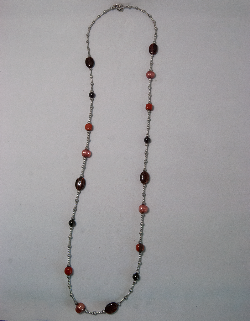 Rose and amber bead twisted chain necklace