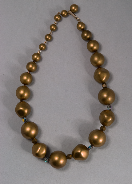 Faux gold bead graduated necklace
