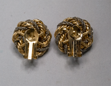 Faux gold and silver braided clip-on earrings