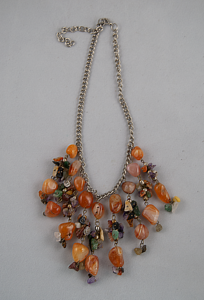 Orange cluster bib necklace
