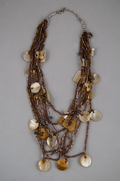 Mother of pearl and wood beaded multi-strand necklace