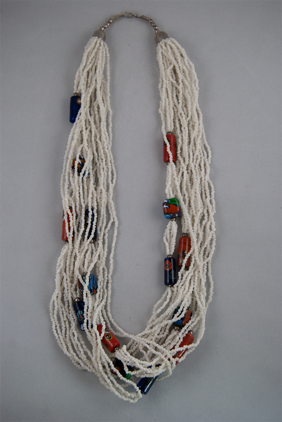 Multi-strand necklace with painted clay beads