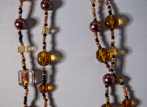 Dark rose, amber, and citrine beaded necklace