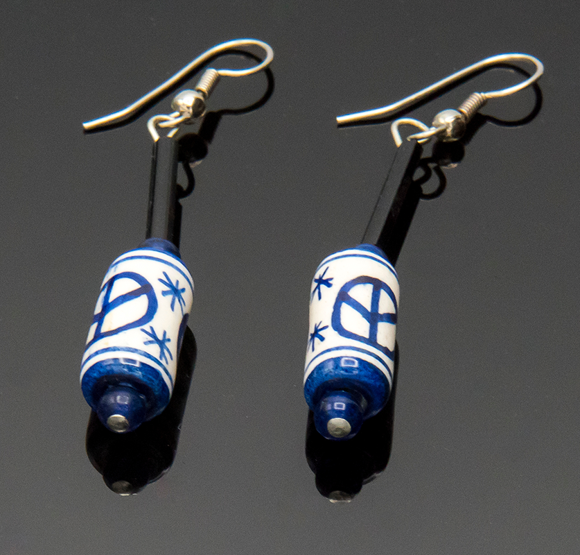 MICIA Creations White and Blue Bead Drop Earrings #104 ($22 Value, Buy now $15)