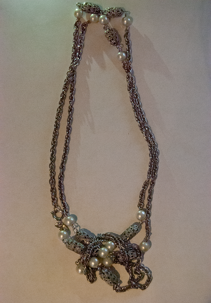 Extra long silver chain necklace with pearl beads