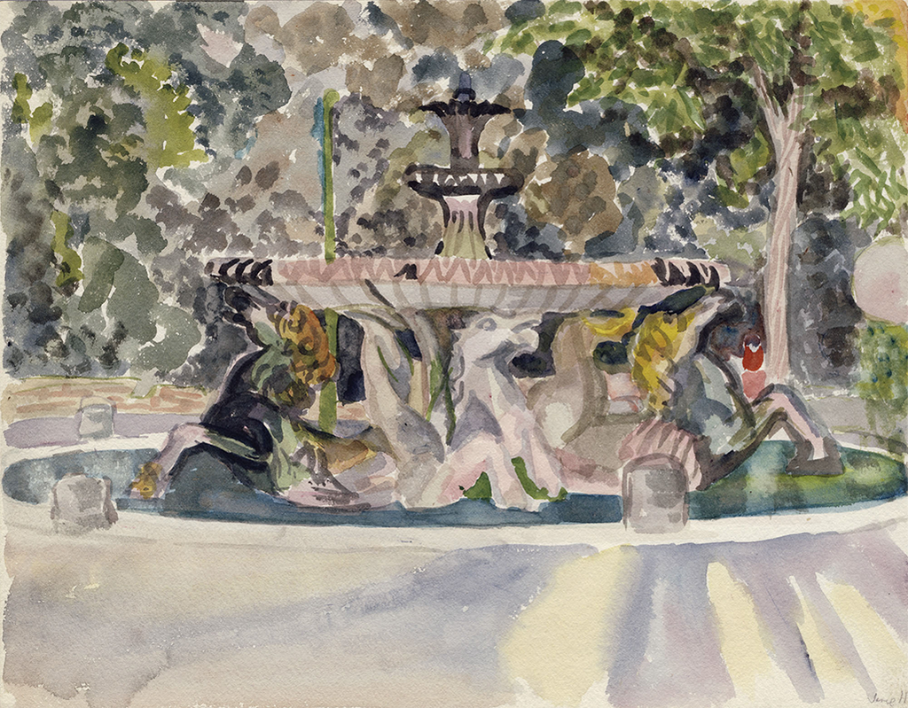The Fountain of the Sea Horses and the Borghese Galleries, 1949, Watercolor on Paper, Sylvia Sleigh