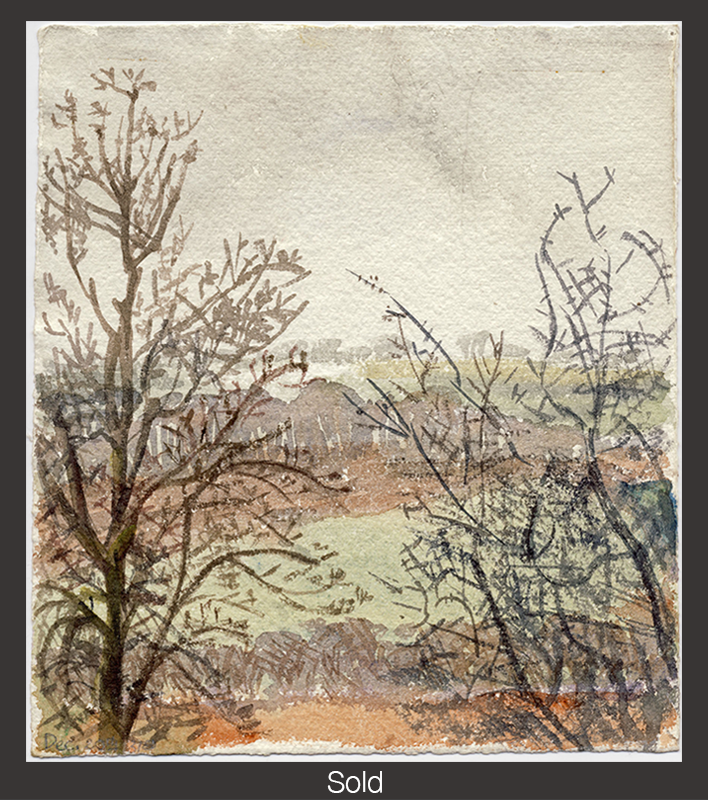 From My Bedroom Window, Pett, 1949, Watercolor on Paper, 7 5/8 in x 6 3/4 in