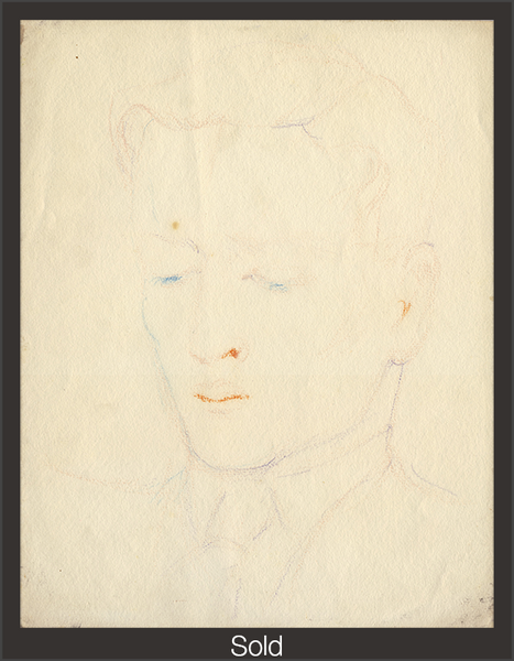 Head of Lawrence Alloway, Undated, Pastel on Paper, 11 7/16 in x 8 15/16 in