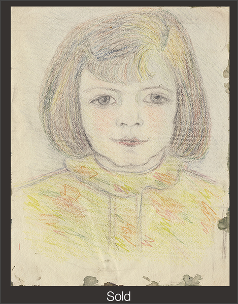 Head of a Girl, c. 1943, Colored Pencil on Paper, Sylvia Sleigh