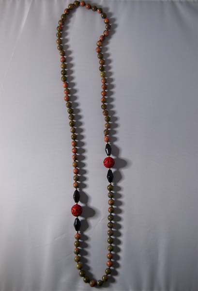 Jade and red wooden carved beaded necklace