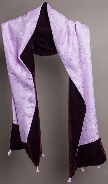 Carole Fraser Silk and Bordeaux Velvet Scarf in Lavender