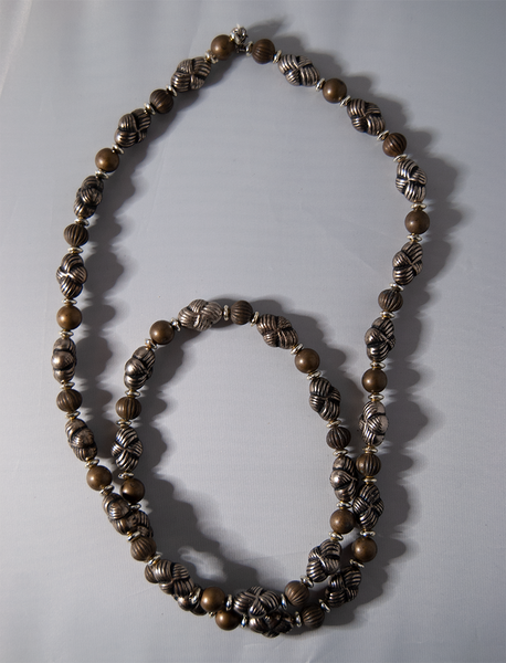 Olive and silver beaded necklace