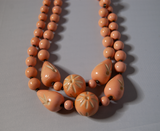 Peach double strand beaded necklace