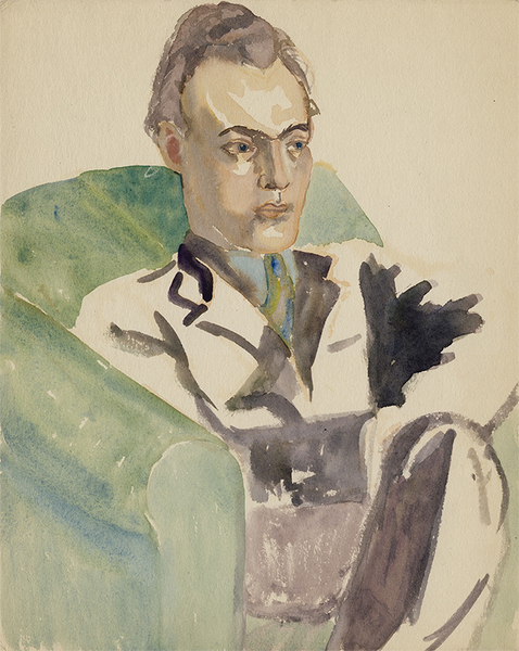 Portrait of a Seated Man, Undated, Watercolor on Paper, Sylvia Sleigh
