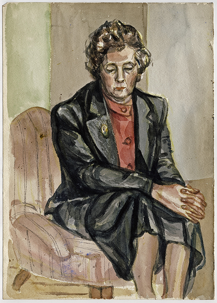 Portrait of a Seated Woman, c. 1958, Watercolor on Paper, Sylvia Sleigh