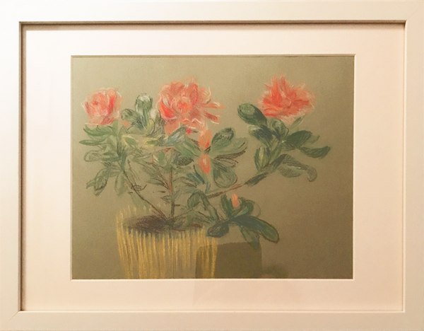 Framed pastel drawing of three roses in a yellow vase.