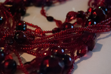 Red bead multi-strand layered necklace