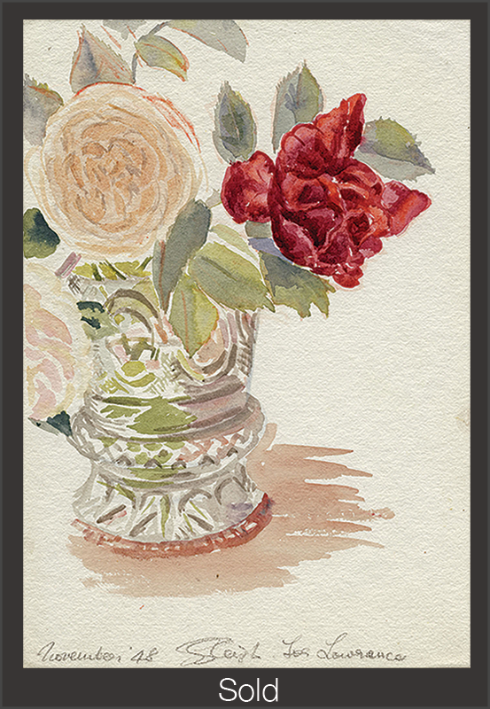 Roses for Lawrence, 1948, Watercolor on Paper, 9 7/8 in x 6 7/8 in Sylvia Sleigh