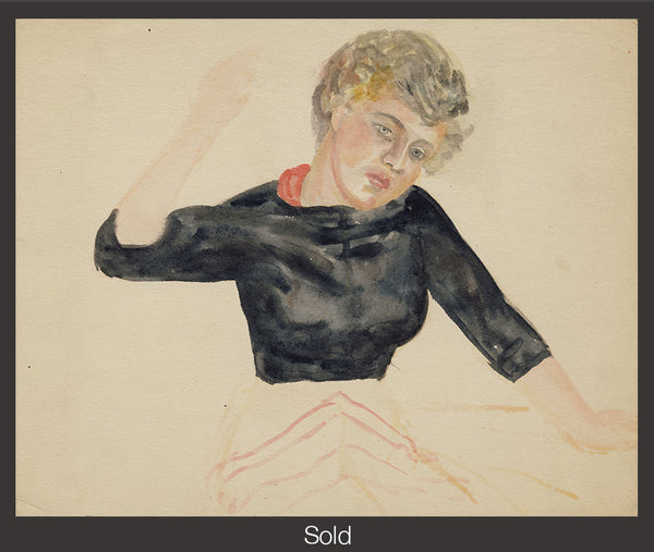 Seated Woman, Half-Length, with Right Arm Raised, 1950, Watercolor on Paper, 9 7/8 in x 12 1/4 in