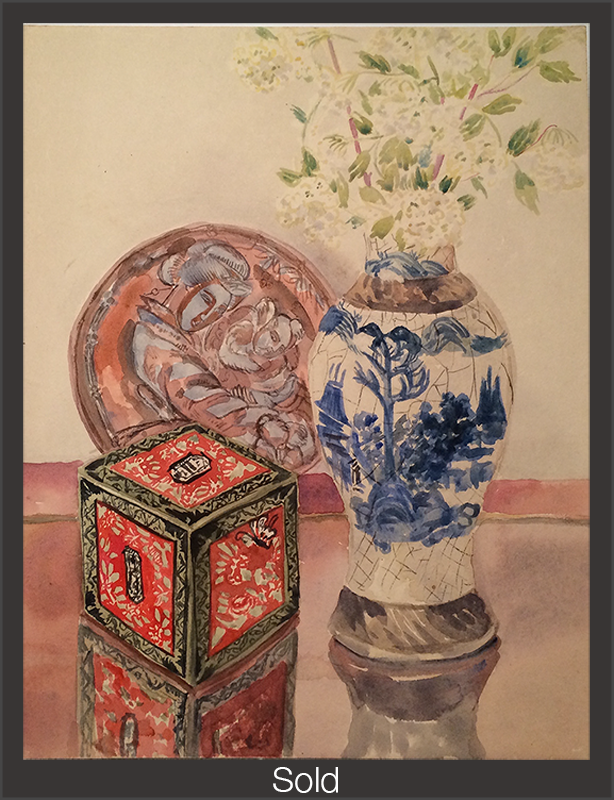 Still Life with Chinese Vase, Plate and Box, Undated, Watercolor on Paper, Sylvia Sleigh