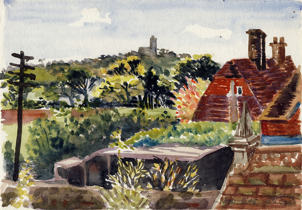 View of Fairlight from the Window with Outbuildings and Mrs. Dick's House, 1948, Watercolor on Paper, Sylvia Sleigh