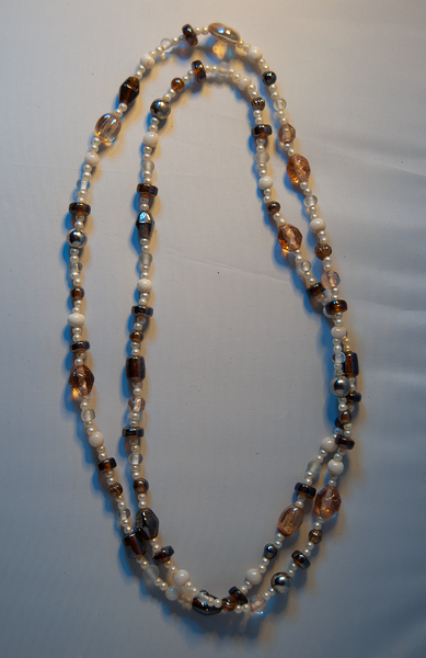 White, rose, and amber beaded necklace