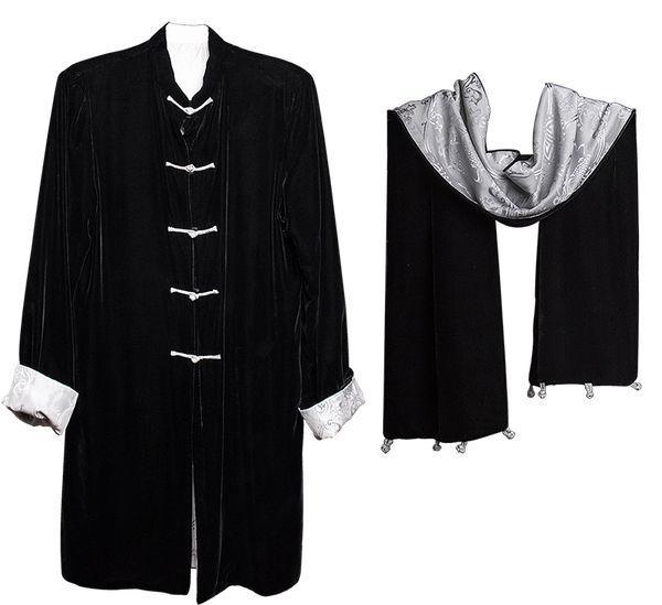 Carole Fraser Three-Quarter Length Reversible Velvet and Silk Jacket and Scarf in Black and Silver