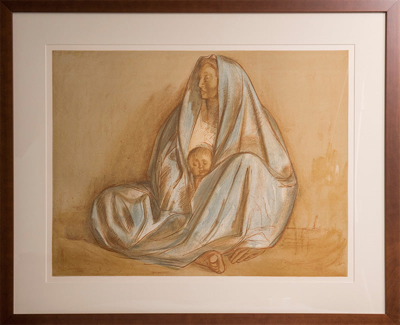 Framed Madonna lithograph in the style of Francisco Zuniga