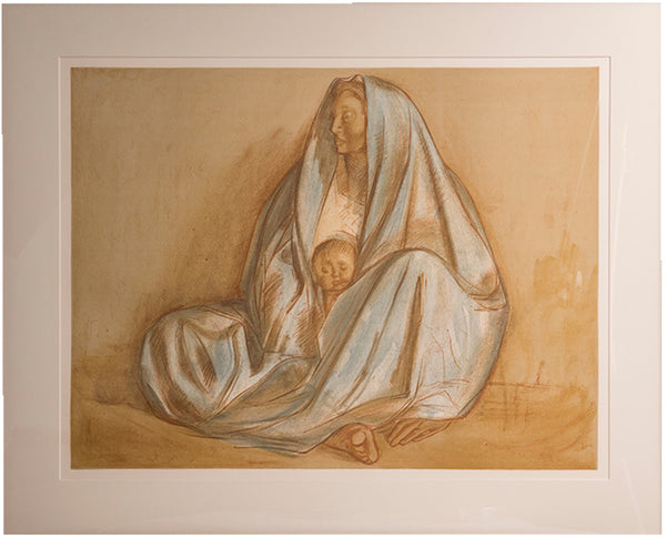 Matted Madonna lithograph in the style of Francisco Zuniga