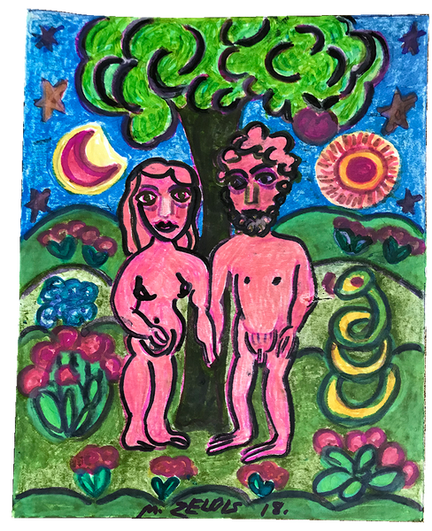 """Nude Couple"" by Malcah Zeldis"