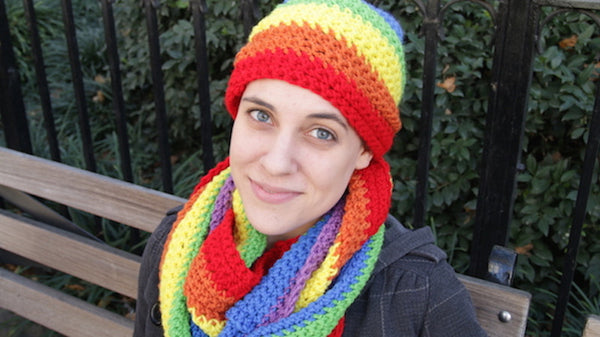 Rainbow Hat and Scarf Set