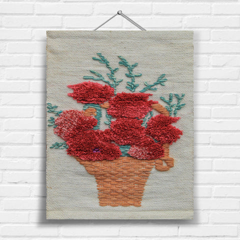 Red Floral Basket Tapestry Wall Hanging (0783)