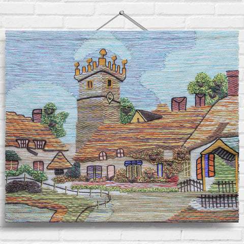 Village Church Tapestry Wall Hanging (1496)
