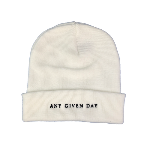 Any Given Day Logo - Beanie White
