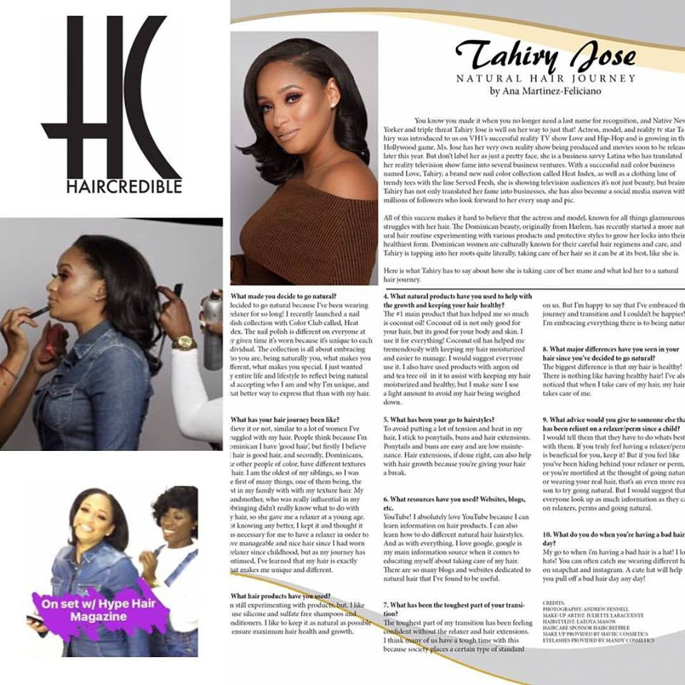 Hype Hair Magazine features Tahiry Jose Natural Hair Journey ...