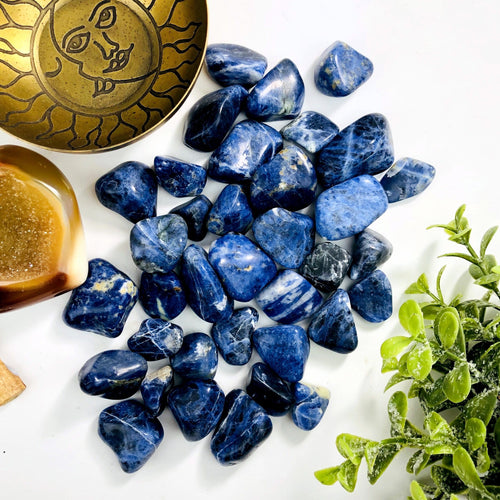 1/2 lb Blue Sodalite Tumbled Gemstones - Polished Stones - Jewelry supplies - Arts and Crafts