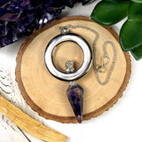 Amethyst Pendulum with Rhinestone Accents Silver Plated Hoop and Chain (RK156B11)