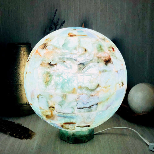 Rainbow Fluorite Sphere Lamps - Large
