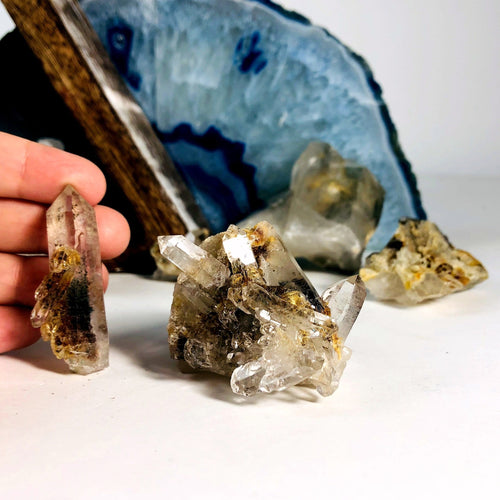Crystal Quartz with Chlorite Raw Clusters - By Weight (RK3019)